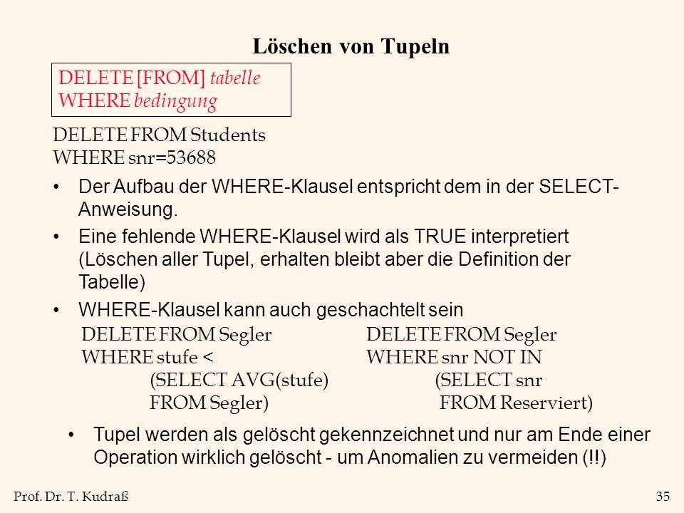 Löschen von Tupeln DELETE [FROM] tabelle WHERE bedingung
